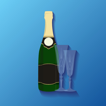 Illustration of a bottle of champagne and glasses for your creativity