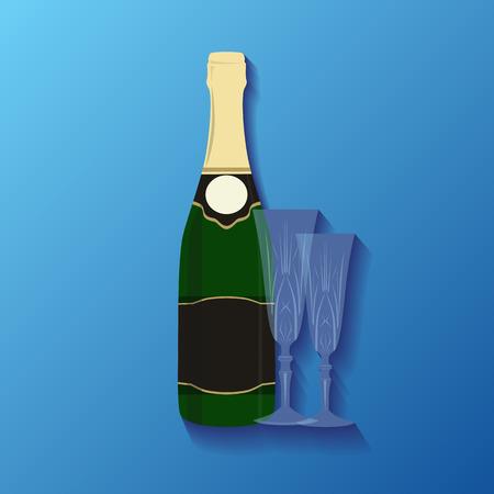 botella champagne: Ilustraci�n de una botella de champ�n y gafas para su creatividad
