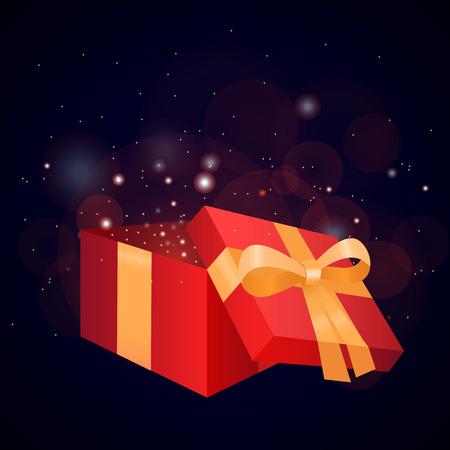 gift ribbon: Illustration of a gift box and sparkles for your creativity