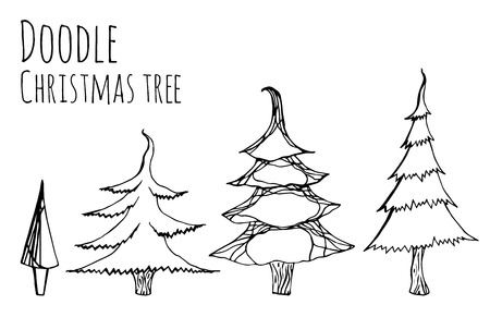 handdrawn: set of hand-drawn doodle Christmas trees for your design