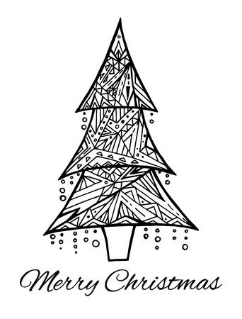 Tarjeta De Navidad. Árbol De Navidad. Dibujo Para Colorear Sobre ...