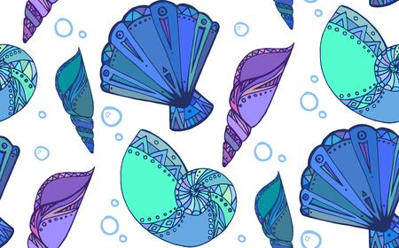 seashell: Seamless texture with doodle seashells. Boho pattern.