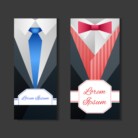 white dress: Set templates with mens suits and place for text for your business Illustration