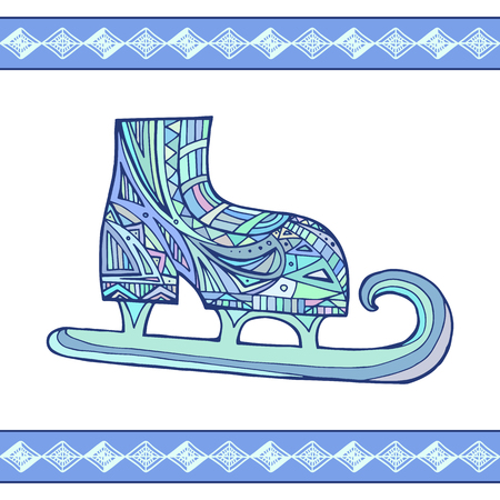 grappling: Illustration doodle Winter skates with boho pattern for your creativity