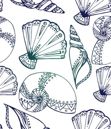 seashell: Seamless texture with black and white doodle seashells. Boho pattern.