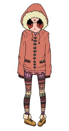 Illustration d'une jeune fille dans un manteau et des jambières décorées avec motif tribal pour votre créativité Vecteurs