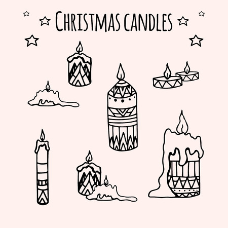 taper: Set of hand-drawn doodle Christmas candles for your creativity