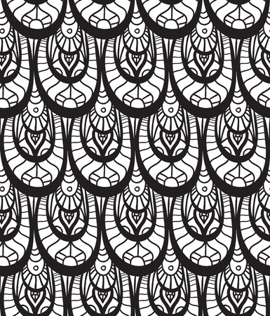 fish scale: Seamless black and white texture with fish scales decorated with doodle pattern for your creativity