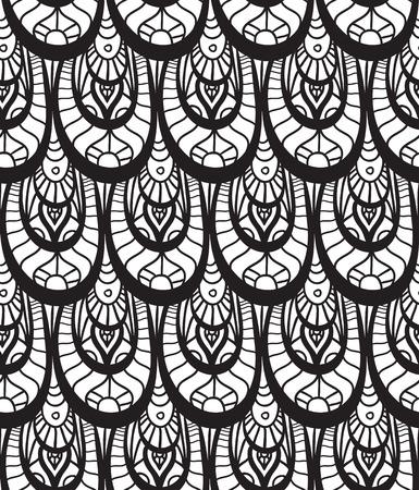 escamas de peces: Textura inconsútil blanco y negro con escamas de pescado decoradas con el patrón del doodle para su creatividad