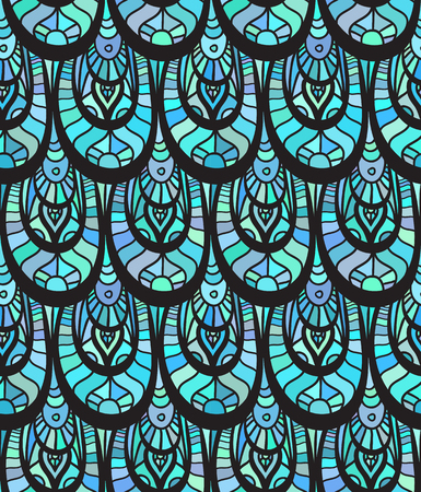 fish with scales: Seamless blue texture of fish scales decorated with doodle pattern for your creativity