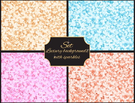 paillette: Set of multicolored luxury background with sparkles for your business Illustration