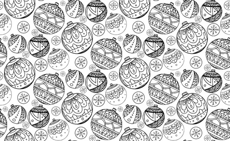 balls decorated: Seamless texture with black and white Christmas balls decorated with doodle pattern for your creativity