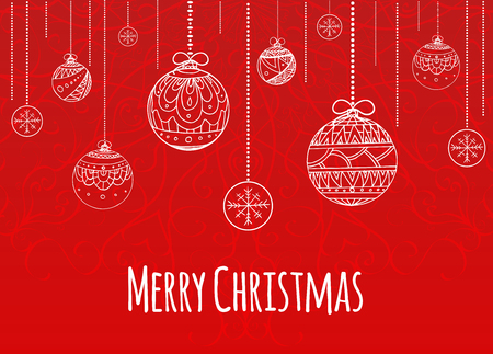 Gruß Weihnachtskarte Mit Kugeln Geschmückt Gekritzelmuster Für Ihre ...