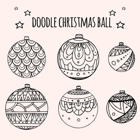 balls decorated: Set of black and white Christmas balls decorated with doodle pattern for your creativity