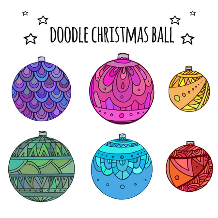 balls decorated: Set of colorful Christmas balls decorated with doodle pattern for your creativity Illustration