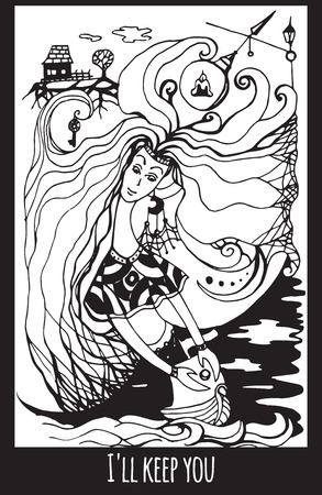 keeper: Greeting card with abstract ink drawing on the theme of the keeper of the way for your creativity