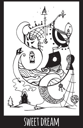 keeper: Greeting card with abstract ink drawing on the theme of the dream, the keeper of dreams for your creativity Illustration