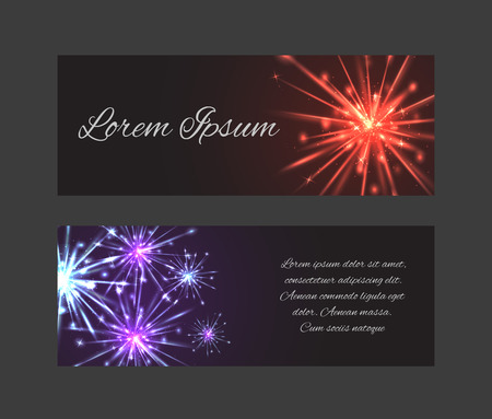independence day: Vector template vouchers, gift card with fireworks place for text for your design