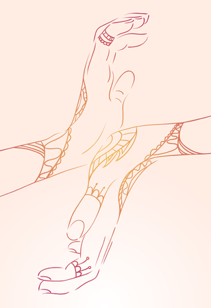 female hands: Female  hands  in the mehendi  for yoga studios and your design Illustration