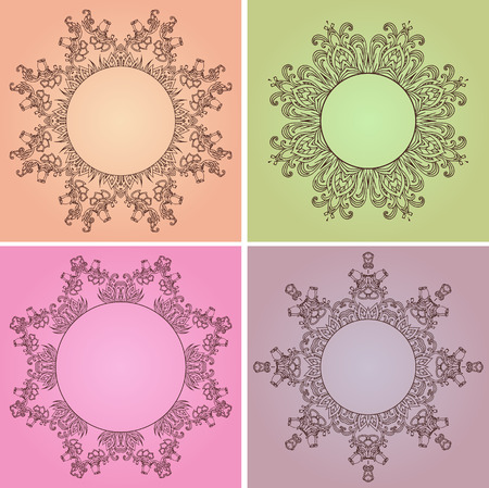 a place for the text: Set of hand-drawn floral frames with a place for text for, icons, scrapbooking, and your design