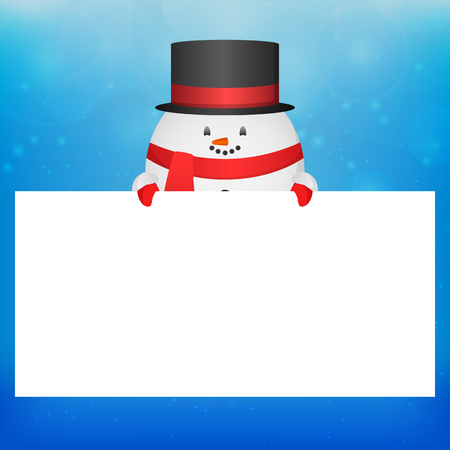 a place for the text: Illustration with a snowman in a hat and a place for text for your creativity