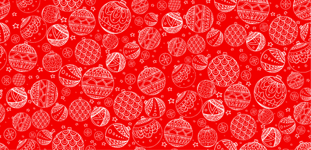 balls decorated: Seamless texture with colorful Christmas balls decorated with doodle pattern for your creativity