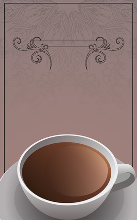leaflets: Template form, leaflets with a cup of tea, swirls and a place for text for your creativity Illustration