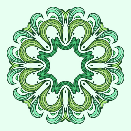 flower ornament: Circular pattern of green abstract leaf for your creativity