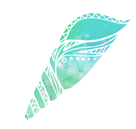 seashell: Illustration with doodle sea shells and watercolor background. Boho pattern.