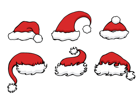 santa hat: Set doodle Christmas hats for your creativity Illustration