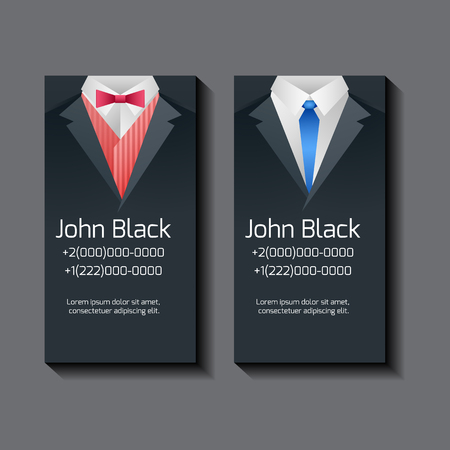 black business men: Set of vector business card templates with mens suits and place for text for your design Illustration