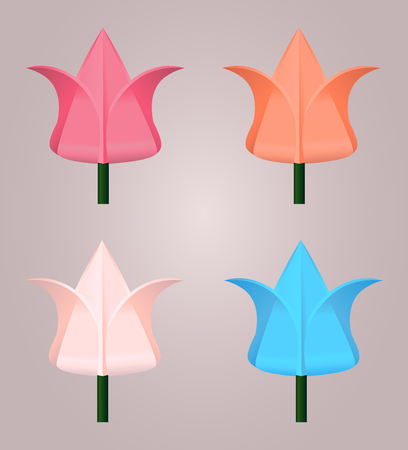 origami bird: Set sector origami paper flowers for logos, icons, and design for your creativity