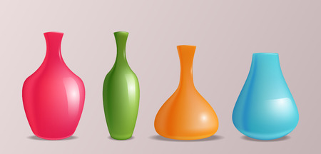 three dimension shape: Set of vector realistic colorful vases for design and your creativity