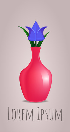 3d paper art: origami paper tulip in a vase for your design and your creativity