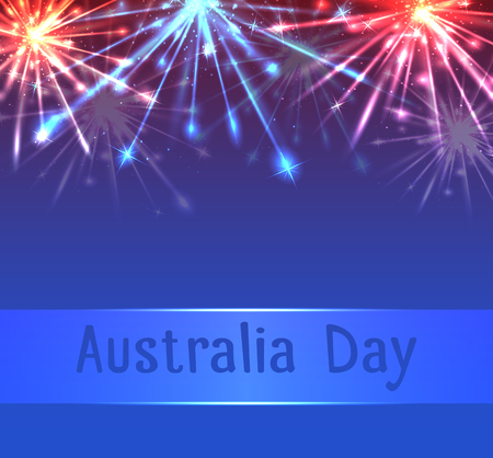 card with fireworks and congratulations on Australia Day Vektorové ilustrace