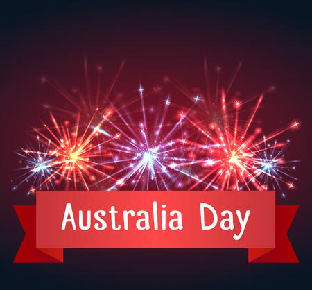 花火とオーストラリア建国記念日おめでとうカード  イラスト・ベクター素材