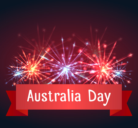 australia day: card with fireworks and congratulations on Australia Day