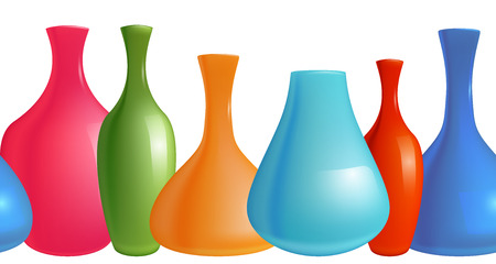 vases: Seamless border with realistic colorful vases for your creativity