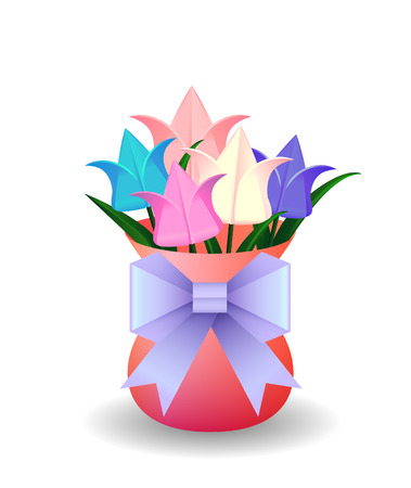 hair bow: Vector illustration of a bouquet of origami tulips in vase and origami paper purple bow for your design