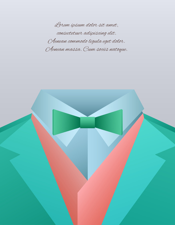 to tie: Vector illustration of funny mens suits and place for text for your design