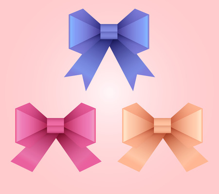 mammography: Set of vector illustration of paper origami bows for your design