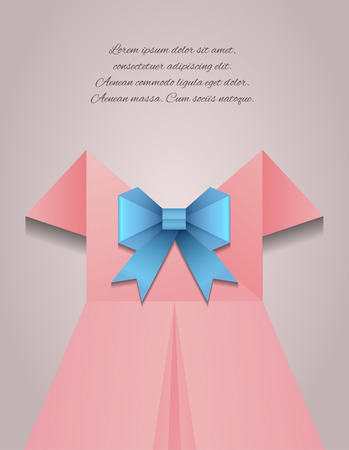 folded clothes: Vector illustration of a womans dress, a bow and place for text for your design Illustration