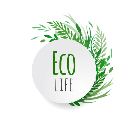 a place of life: Cover vector plants with place for text for your design. Eco life. Illustration