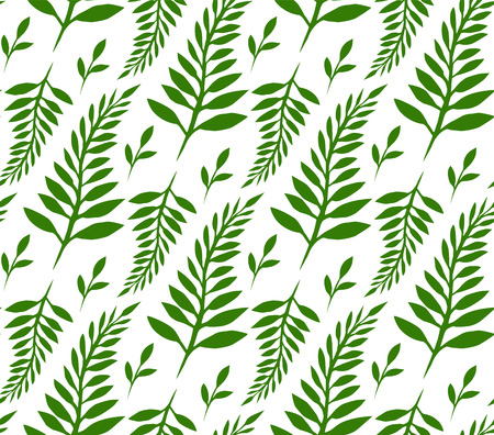 ferns: Seamless texture with green ferns and leaves for your creativity