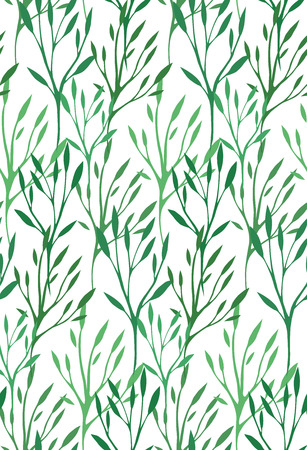 green plants: Seamless texture with green leaves and branches for your creativity Illustration