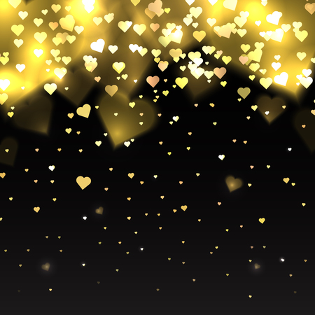 Illustration with gold glitter hearts on a dark background with sparkles for your creativity