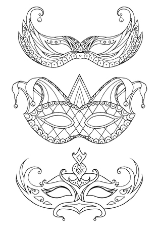teatro mascara: Conjunto de máscaras faciales bosquejo dibujado a mano. Festival de carnaval, mascarada.