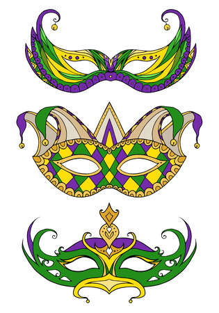 masquerade masks: Set of hand-drawn doodle face masks. Festival Mardi Gras, masquerade.