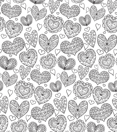 garabatos: Seamless texture with contours of the doodle hearts decorated boho patterns for your creativity