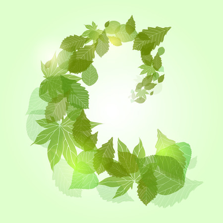 Whirlpool with green leaves and sparkles for banners, frames and your design